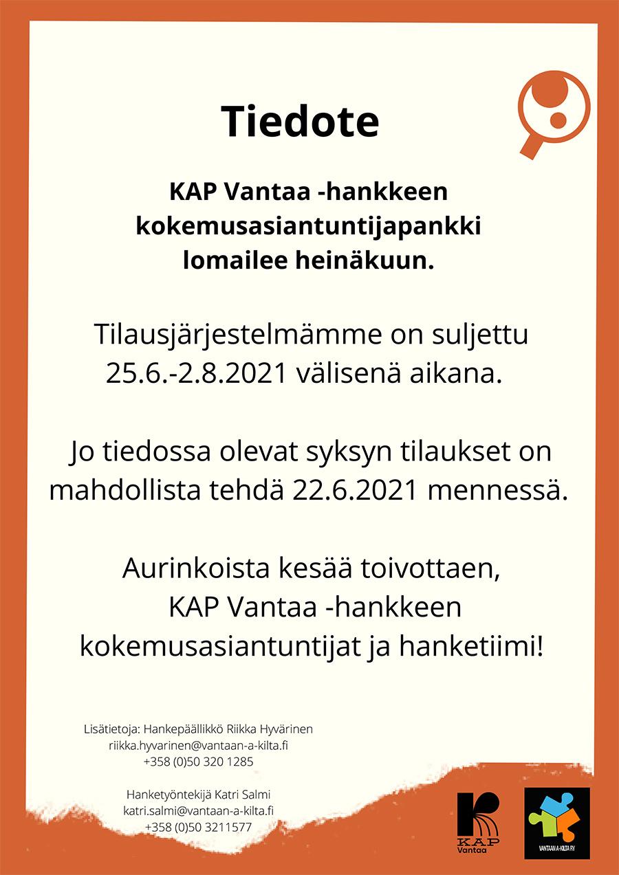 KAP_tiedote_kesäsulku2021